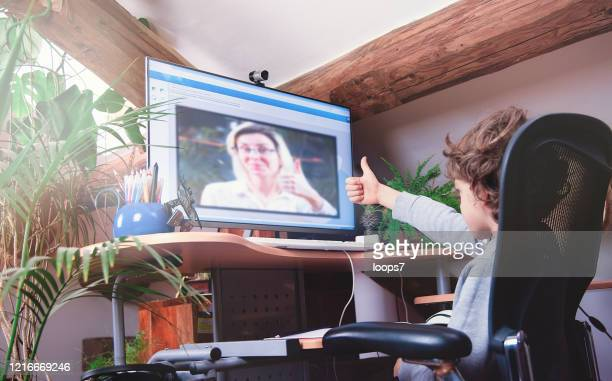 child studying online lesson at home - remote location stock pictures, royalty-free photos & images