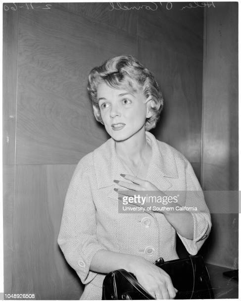Child support 11 February 1960 Helen O'Connell Caption slip reads 'Tompkins Date Reporter Tompkins Assignment Helen O'Connell asks temp alimony and...