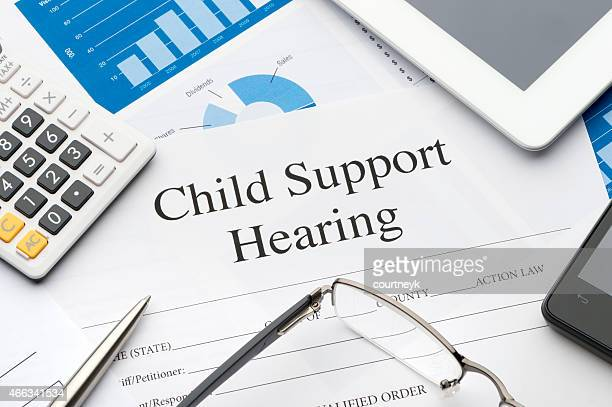 Child support hearing form on a desk.