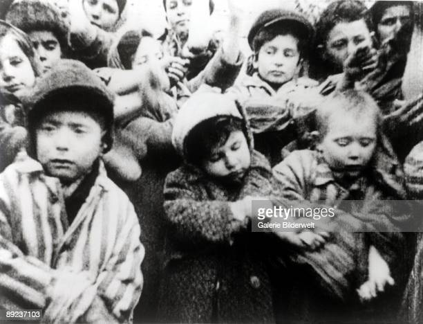 Child survivors of Auschwitz show their tattooed arms Poland February 1945 Photo taken by a Russian photographer during the making of a film about...