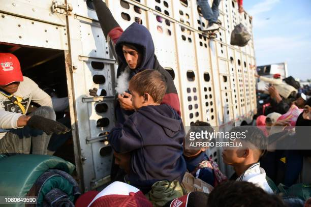 A child taking part in a caravan of migrants from poor Central American countries mostly Hondurans moving towards the United States in hopes of a...