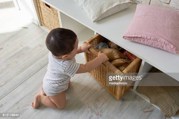 child tidying up - toy box stock pictures, royalty-free photos & images