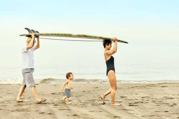 A child under the age of one is walking in the middle of a couple carrying a surfboard on their heads on the beach.