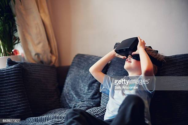 child using a virtual reality headset - digital native stock photos and pictures