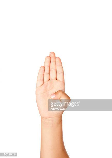 Child Using American Sign Language Letter B