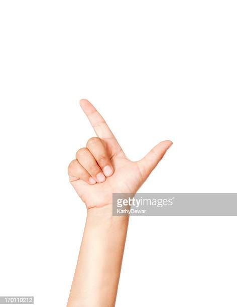 Child Using American Sign Language Letter L