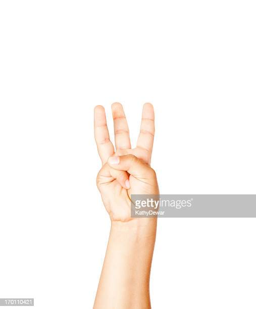 Child Using American Sign Language Letter W