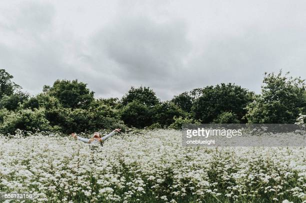 child walking in field - onebluelight stock pictures, royalty-free photos & images