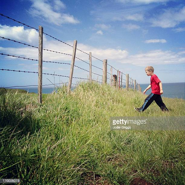 Child walking through grassy paddock towards fence