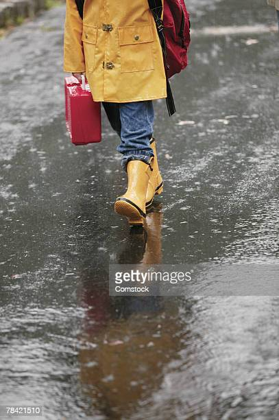 Child walking to school in the rain