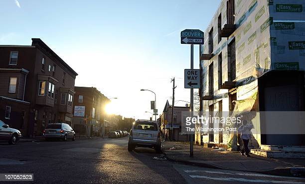 A child walks down Susquehanna Ave at the intersection of Bouvier Street on March 31 2010 in North Philadelphia Philadelphia policeman Patrick...