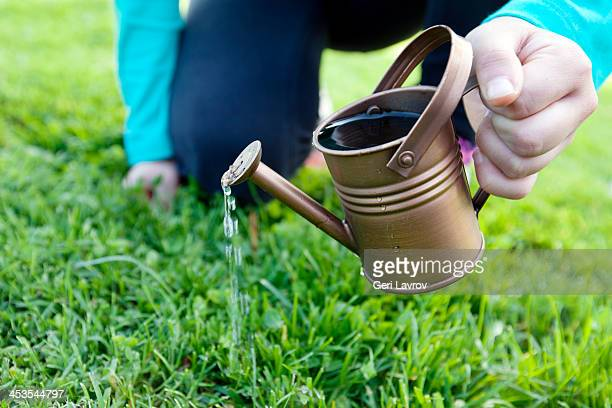 Child watering grass using a water can
