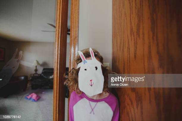 child wearing a home made bunny mask - easter bunny costume stock pictures, royalty-free photos & images