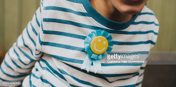 child wearing a rosette - third place stock pictures, royalty-free photos & images
