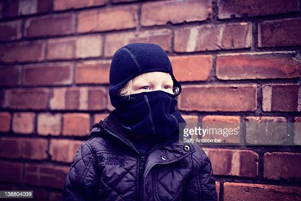 child wearing balaclava - balaclava stock pictures, royalty-free photos & images
