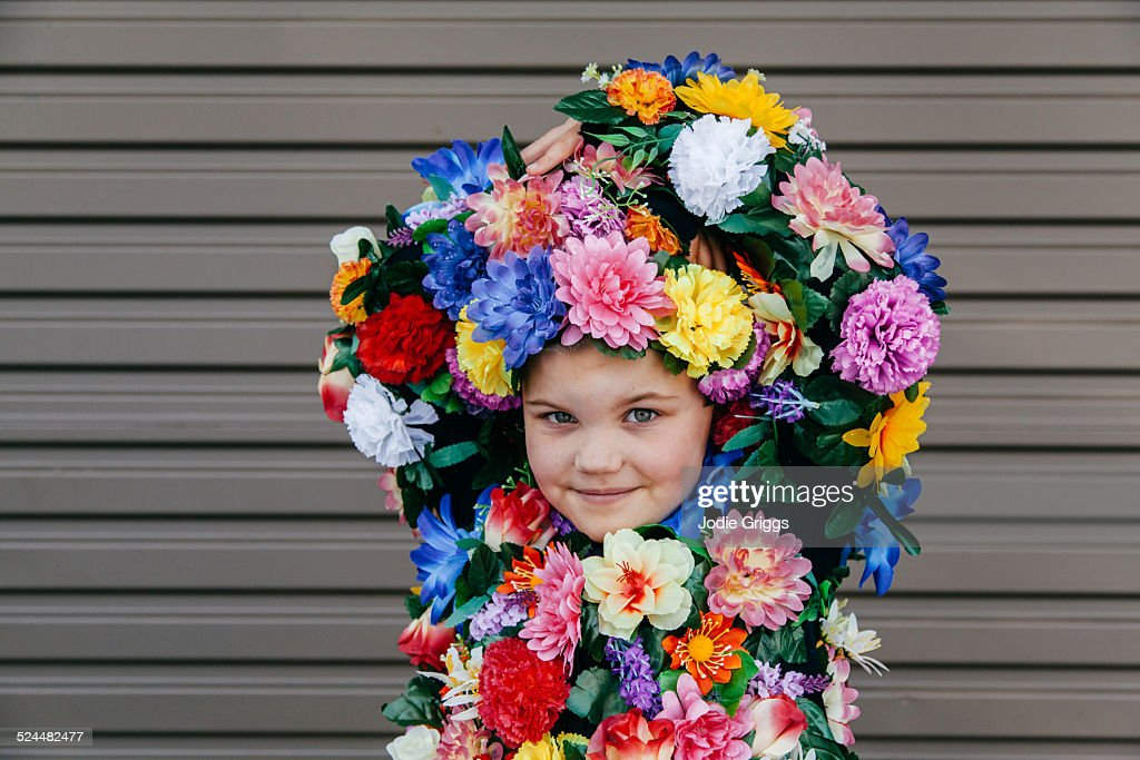 Child Wearing Homemade Costume Covered In Flowers Stock Photo ...