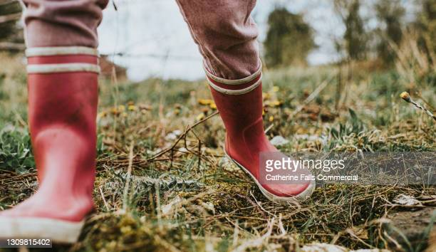 child wearing pink wellies takes a big step towards the camera - waders stock pictures, royalty-free photos & images
