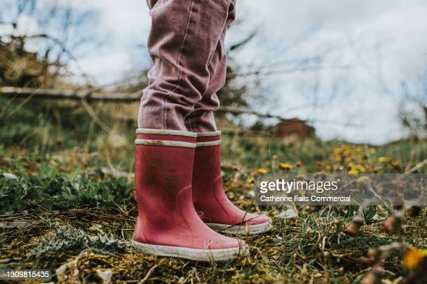 child wearing standing in a field of weeds - waders stock pictures, royalty-free photos & images