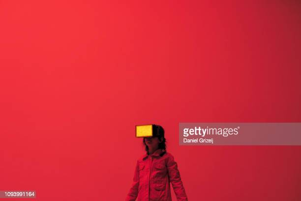 child wearing virtual reality glasses - artificial intelligence stock pictures, royalty-free photos & images