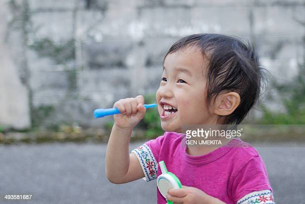 child who play with bubble