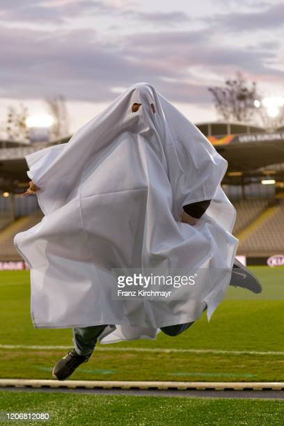 Child with a ghost costume at the Group D UEFA Europa League match between LASK and Manchester United at Stadion der Stadt Linz on March 12 2020 in...
