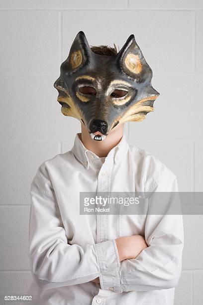 child with a mask on - loup blanc photos et images de collection
