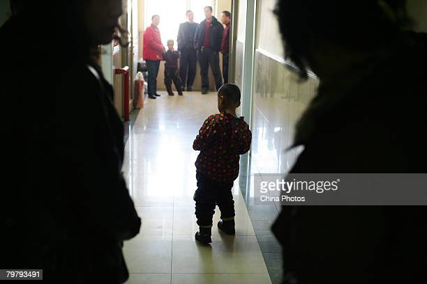 A child with brain paralysis learns to walk at the Yanan Hospital on February 15 2008 in Changchun of Jilin Province China Jilin Provincial...