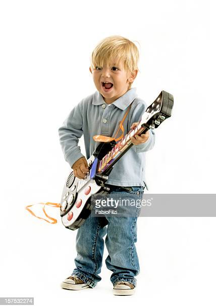 child with electric guitar