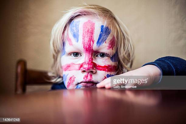 Child with his face painted