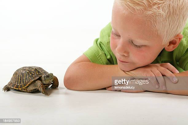 Child with pet turtle