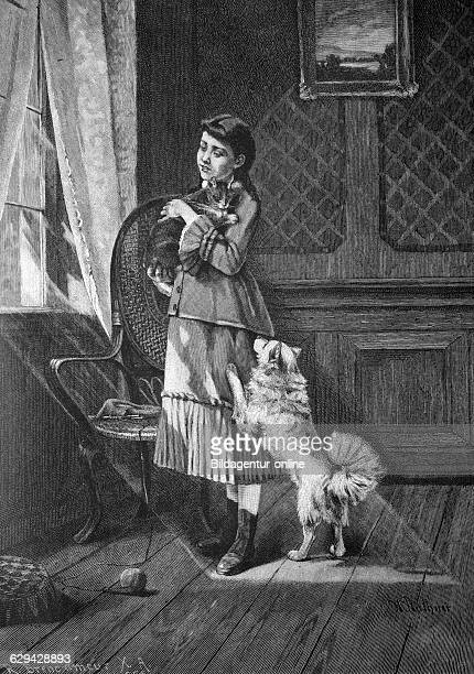 Child with pets historical illlustration about 1886