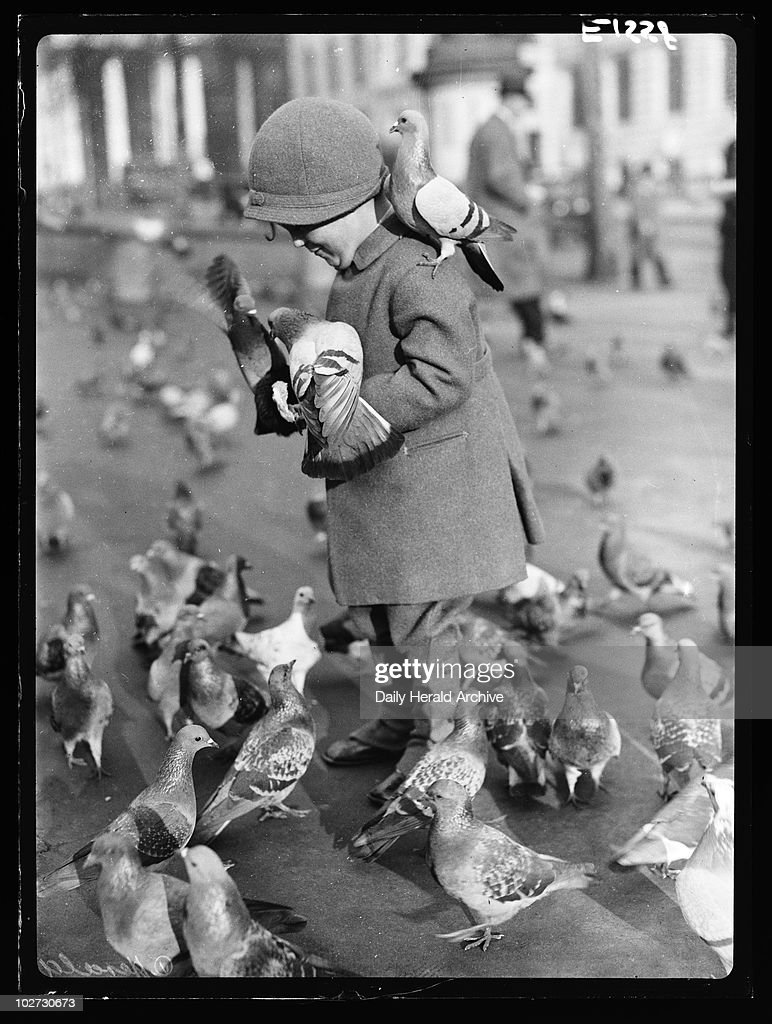 Child with pigeons in Trafalgar Square, London, 7 December 1934. : News Photo