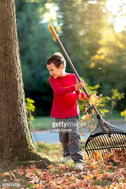 Child with special needs raking leaves in the front yard