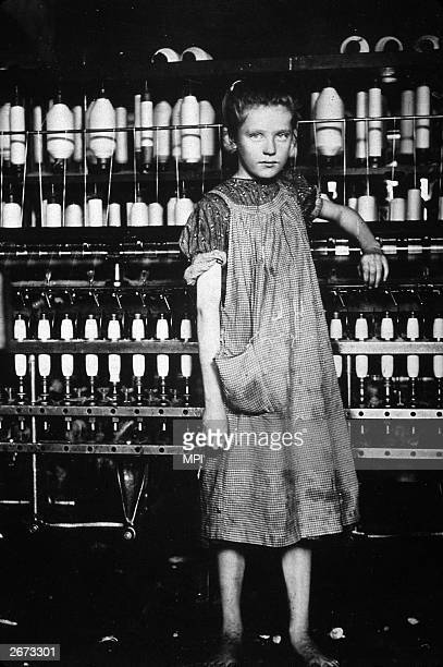 A child worker in a textile factory