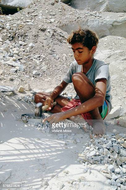 Child Working in Stone Quarry in Brazil