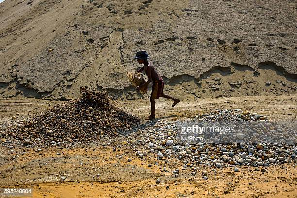 Child works in stone mine at Jaflong Sylhet on March 18 2016