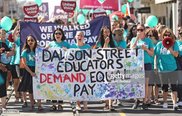 Childcare workers and supporters from Dawson Street Child Care Co-operative walk down Sydney Road during a protest march as part of a campaign for...