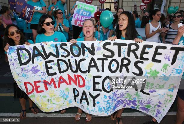 Childcare workers and supporters from Dawson Street Child Care Cooperative walk down Sydney Road during a protest march as part of a campaign for...