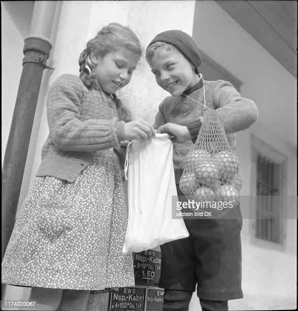 Childen at carnival festivities in Schwyz 1950