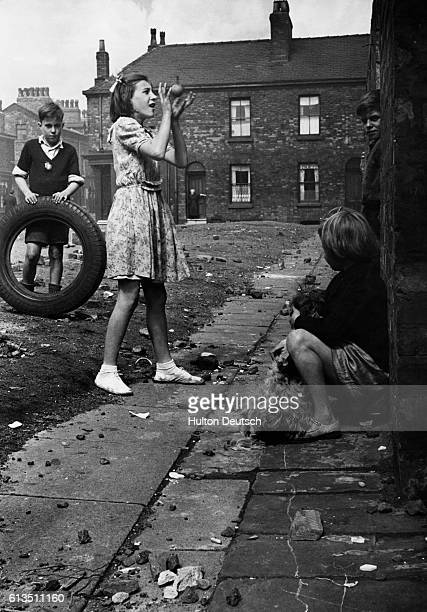 Childen playing on the street in Salford near Manchester England in the 1950's