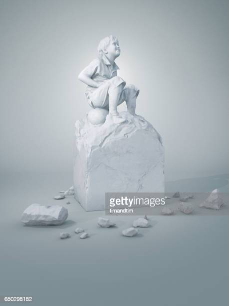 childhood boy sculpture - sculptuur stockfoto's en -beelden