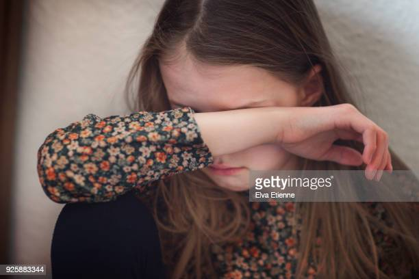 childhood depression - girls stock pictures, royalty-free photos & images