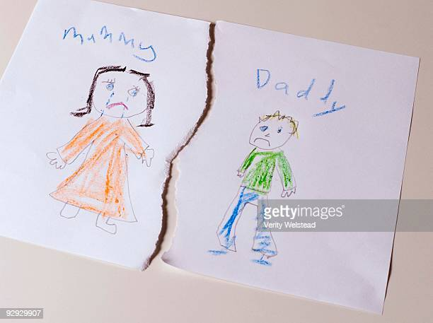 Childhood drawing depicting divorce