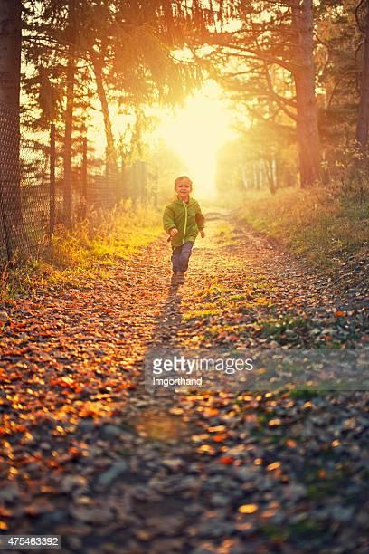 Childhood joy - boy running on sunny path