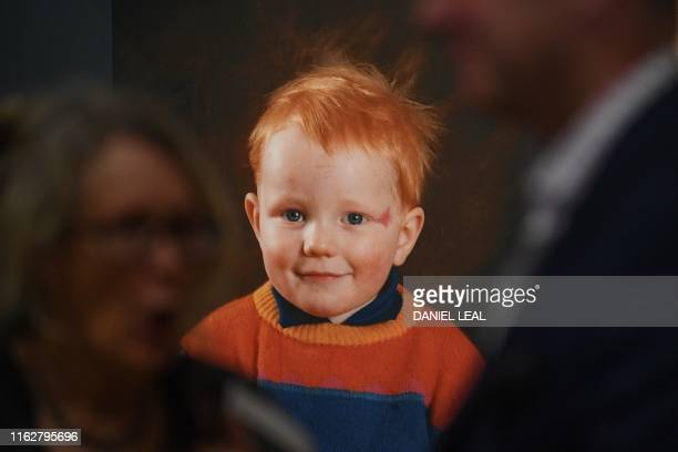 A childhood photograph of British musician Ed Sheeran is pictured during a press preview of the exhibition 'Ed Sheeran Made in Suffolk' in Ipswich...