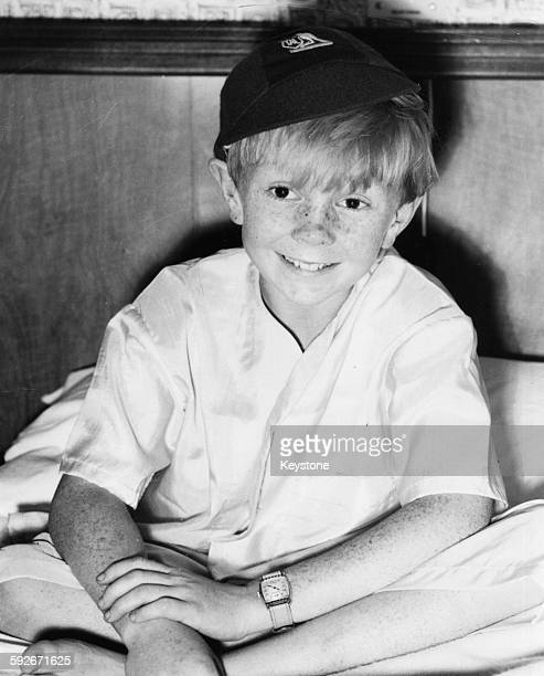 Childhood portrait of Australian musician Colin Petersen drummer with the band the 'Bee Gees' pictured promoting his film 'Smiley' in London July...
