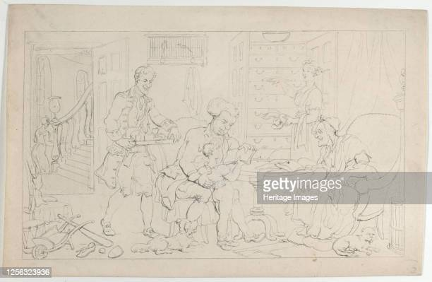 """The First Tutor, from """"The Dance of Life"""", September 1, 1817. Artist Thomas Rowlandson."""