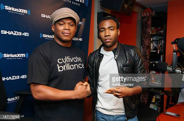 'Childish Gambino' Donald Glover poses for a photo with host Sway during 'Sway in the Morning' on Eminem's Shade 45 channel at SiriusXM studios on...