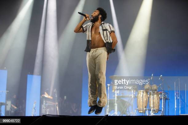 Childish Gambino performs at Lovebox festival at Gunnersbury Park on July 14 2018 in London England