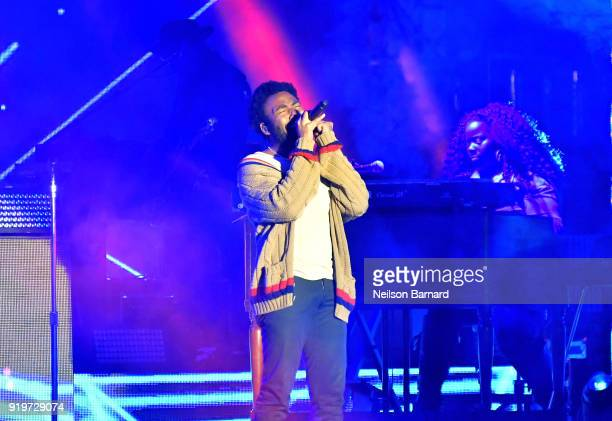 Childish Gambino performs onstage at adidas Creates 747 Warehouse St an event in basketball culture on February 17 2018 in Los Angeles California